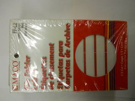 LABELS, DRI ROLL, RED SELF ADHESIVE