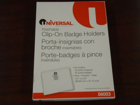 BADGE HOLDERS, CLIP STYLE, TOP LOADING, 50/BX