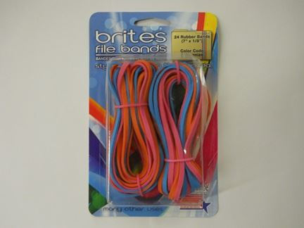 "RUBBER BANDS, LARGE, ASSORTED COLORS, 7"" X 1/8"", 24/PK"