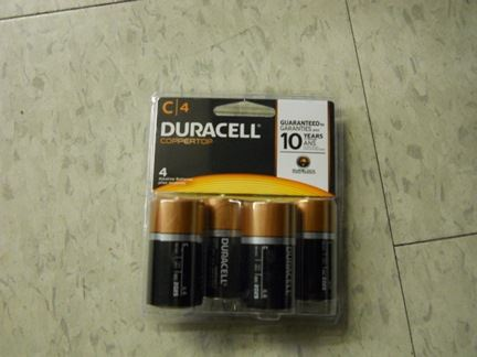 BATTERIES, C ALKALINE, 4/PK, DURACELL OR EQUAL