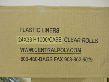LINERS, 24X33,CLEAR, 1M/CA