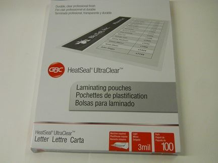 LAMINATING POUCHES, ULTRA CLEAR, THERMAL, LETTER SIZE, CLEAR, 100/PK