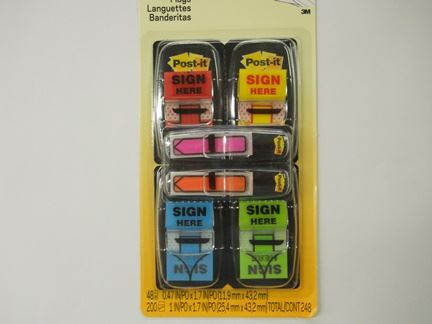 "POST-IT SIGN HERE MESSAGE FLAGS, 1"" WIDE, ASSORTED COLORS, 200 FLAGS/PK"