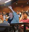 Older man in college classroom