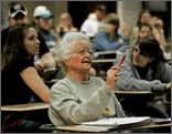 Older woman in a college classroom