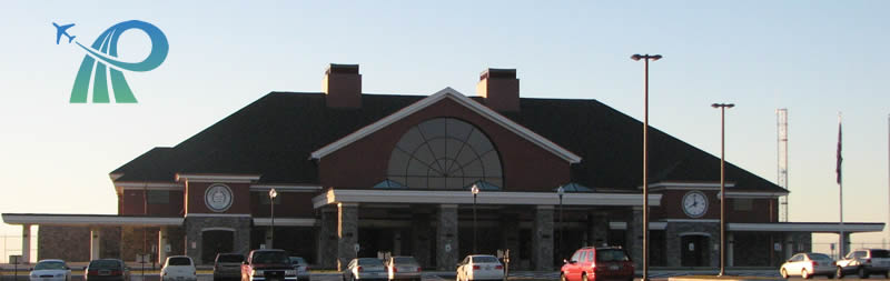 Plattsburgh Airport Terminal and logo in the corner