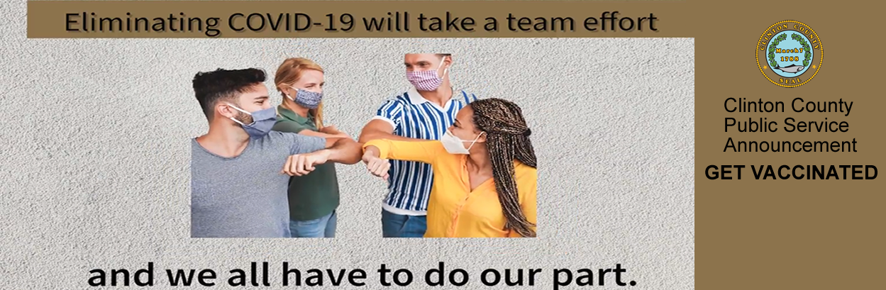clinton county public service announcement we all need to do our part to eliminate covid-19  four young people wearing masks giving each other an elbow bump