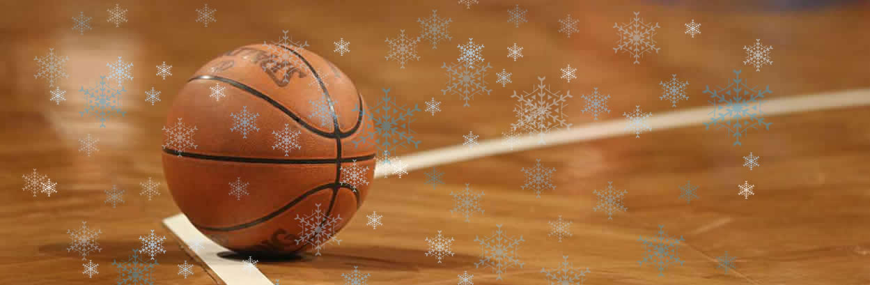 basketball on court with snowflake overlay